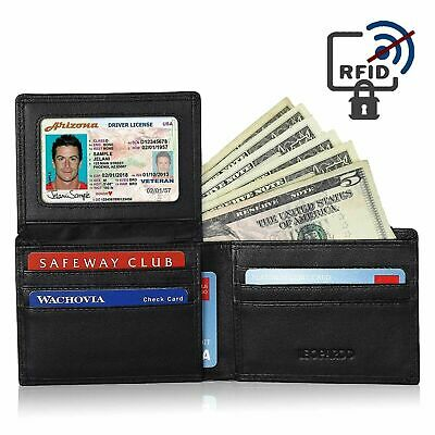 AU18.95 • Buy Mens Wallet RFID Black Bifold Credit Card ID Holder Slim New Genuine Leather