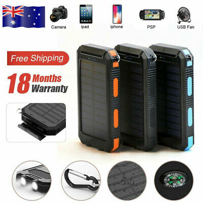 AU46.80 • Buy 50000mAh Waterproof Portable Solar USB External Battery Power Bank Pack Charger