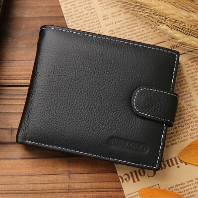 AU16.95 • Buy Mens Wallet Black Bi Fold With Top Layer Cowhide Leather Card Slots Coin Pocket
