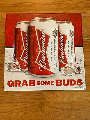 $ CDN66.05 • Buy Budweiser Beer Can Tin Metal Sign Grab Some Buds 21  Rare Bar Garage Mancave