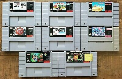 $ CDN99.99 • Buy SNES Game LOT: Street Fighter + Ms Pac-Man + Lester + NBA Jam + NHL + MORE