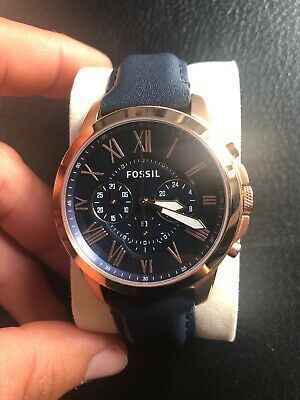 View Details Fossil Watch Mens Chronograph Navy Blue Rose Gold Leather • 35.00£