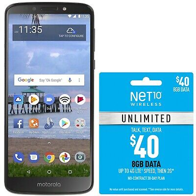 $49.99 • Buy Net10 Motorola Moto E5 4G LTE Prepaid Cell Phone With $40 Airtime Plan Included
