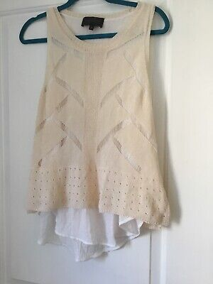 $ CDN28.12 • Buy Anthropologie SUNDAY IN BROOKLYN White Crochet Layered Sleeveless Top Medium