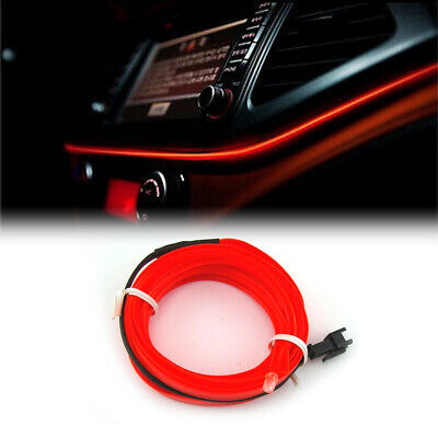 AU6.20 • Buy 12V 2M EL Wire Red Cold Light Lamp Neon Lamp Atmosphere Decor Car Accessories