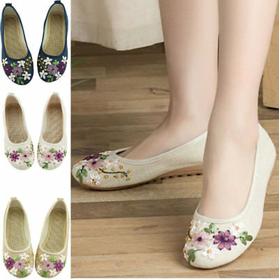 £10.17 • Buy Chinese Embroidered Floral Loafer Flats Shoes Women Ballerina Cotton Ballet Shoe