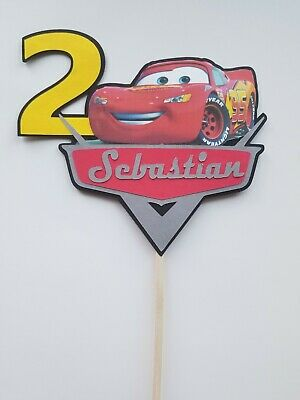 Disney Cars Personalized Cake Topper/center Pieces/ Party Decorations Handmade • 7.43£