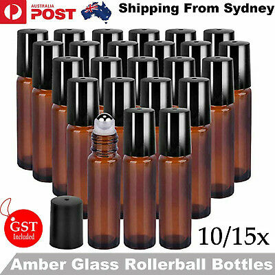 AU13.99 • Buy 5/10 10ml Roller Bottles Amber THICK Glass Steel Roll On Ball For Essential Oils