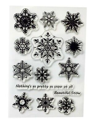 14 Snowflakes Clear Rubber Stamps-winter/xmas Transparent Stamp-snow Flake Card • 5.75£