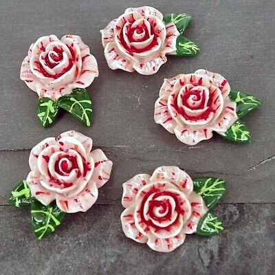 £3.95 • Buy  Cabochon, Pink Roses With Leaves,  Resin Flat Back Embellishments Craft C32