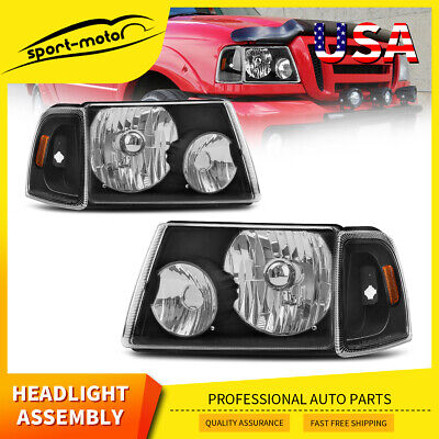 $66.51 • Buy For 2001-2011 Ford Ranger Black/Amber Corner Headlight Headlamp Replacement 4PCS