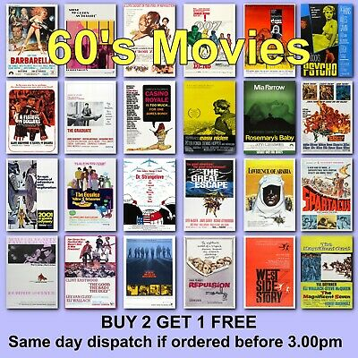 Poster Classic Movie Posters 1960s 60s Film Poster Films HD Borderless Printing • 2.97£