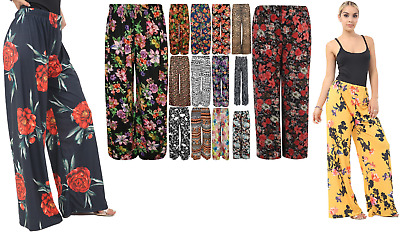 £9.49 • Buy New Plus Size Womens Printed  Palazzo Wide Leg Flared Ladies Trousers Pants 8-26
