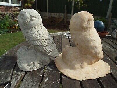 Latex Mould To Make Garden Ornament Owl Perched On Rock Concrete IN STOCK • 29.99£