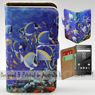 AU14.98 • Buy For Sony Xperia Series - Deep Ocean Fishes Print Wallet Mobile Phone Case Cover