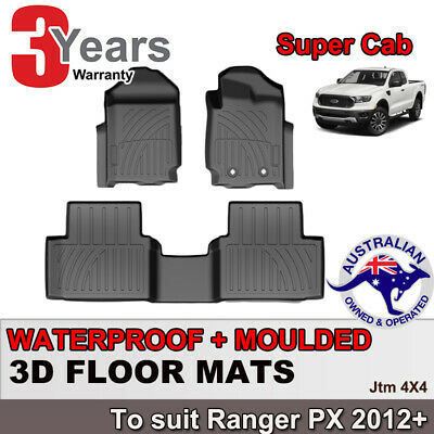 AU137.08 • Buy 3D TPO Floor Mats Waterproof For Ford Ranger PX Super Cab Extra Cab 2012-2020