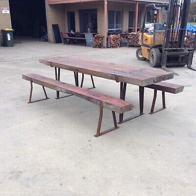 AU2500 • Buy Redgum Sleeper Table Setting Recycled Outdoor Furniture