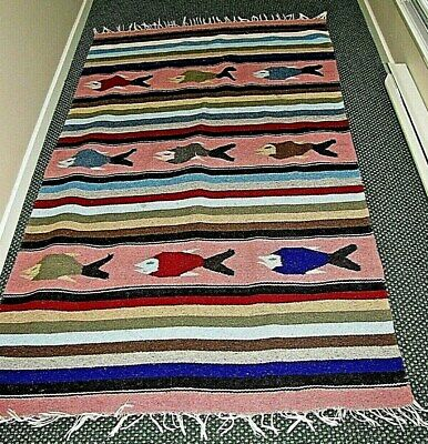 VTG MEXICO  HAND CRAFTED FALSA  MULTICOLORS RUG - FISH MOTIVE ( 80  X 42  ) • 33.08£
