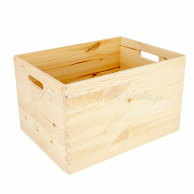 Wooden Crate   Storage Box With Handles   Wooden Crate   3 Sizes • 20£