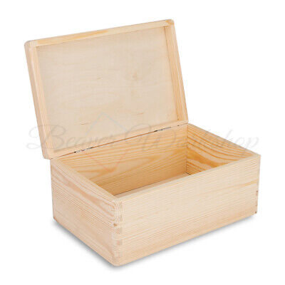 Plain Wooden Box With Hinged Lid 30 X  20 X 13 Cm • 12.99£