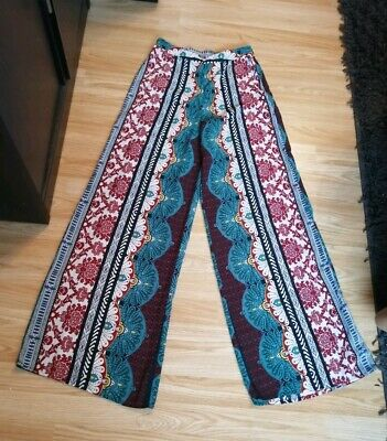 £14.99 • Buy Ladies New Colourd Print High Waist Palazzo Trousers Size 6