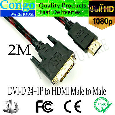 AU14.85 • Buy 2M DVI-D 24+1 Male  To HDMI Male Cable Full HD Gold-Plated Braided TV Monitor