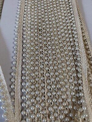 INDIAN SMALL IVORY PEARL BEADS On WHITE RIBBON LACE TRIM BORDER - 1 METRE • 2.50£
