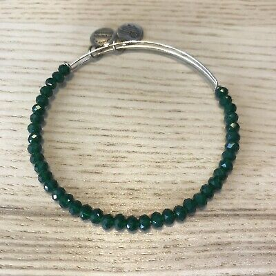 AU55 • Buy ALEX AND ANI Mother Earth Brilliance Green Silver Faceted Beaded Bangle Bracelet