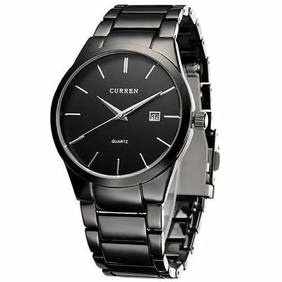 AU19.67 • Buy Mens Watches Classic Black/Silver Steel Band Quartz Analog Wrist Watch With Date