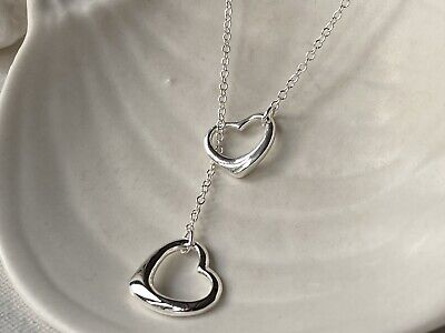 925 Sterling Silver Long Chain Necklace Jewellery Infinity Double Joined Heart  • 7.49£