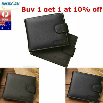 AU16.99 • Buy Genuine Leather Mens Wallet Purse Money Bag Coin Credit Card Clip Slim ID Holder