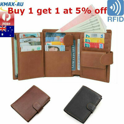 AU19.95 • Buy RFID Blocking Genuine Leather Mens Wallet Trifold Purse Coin Card Large ID