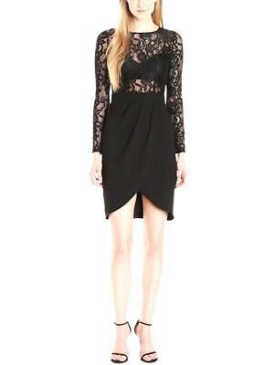 $49 • Buy AIDAN MATTOX Long Sleeve Lace Crepe Cocktail Dress, Size 2. NEW With Tags