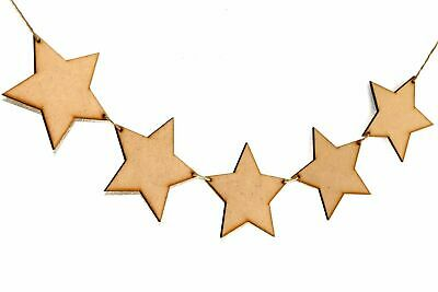 £5.51 • Buy Wooden Party Bunting Star Party Embellishment Craft Decoration Blanks MDF Shapes