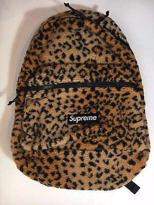 $ CDN502.14 • Buy New Nwt Supreme Fw17 Leopard Fleece Backpack in Hand Soft Yellow Cheetah Ships
