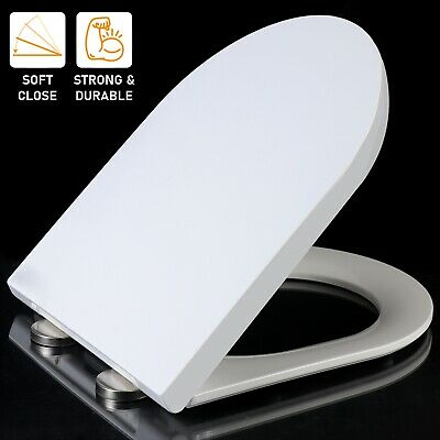 £12.99 • Buy Luxury D Shape Soft Close White Toilet Seat Wc Quick Release + Top Fixing Hinges