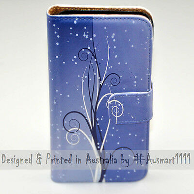 AU14.98 • Buy For OPPO Series - Blue Swirl Theme Print Wallet Mobile Phone Case Cover