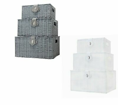 Vencier SET OF 3 Resin Wicker Woven Storage Baskets Hamper Box With Lid & Lock  • 17.99£