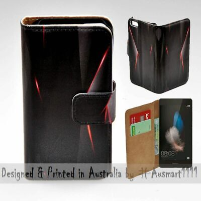 AU14.98 • Buy For Huawei Series - Black Polygon Infra Red Print Wallet Mobile Phone Case Cover