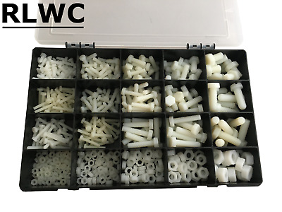 Assorted White Nylon Plastic Nuts And Bolts Assorted Kit 600 Pcs M4 M5 M6 M8 M10 • 51.45£
