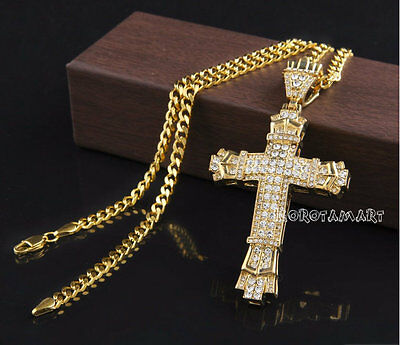 Iced Out Cross Necklace 18k Gold Filled Chain CZ Crystal Bling Mens Womens Biker • 9.45£