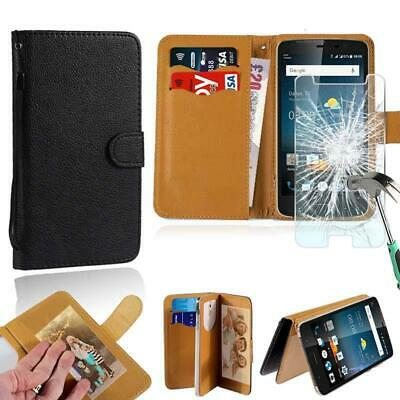 AU7.99 • Buy Leather Stand Wallet Case + Tempered Glass Screen Protector For ZTE Blade Phones