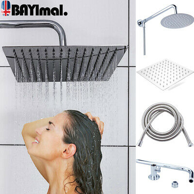 Square Large 8  Shower Head Chrome Stainless Steel Water Rainfall Overhead Bath • 6.83£