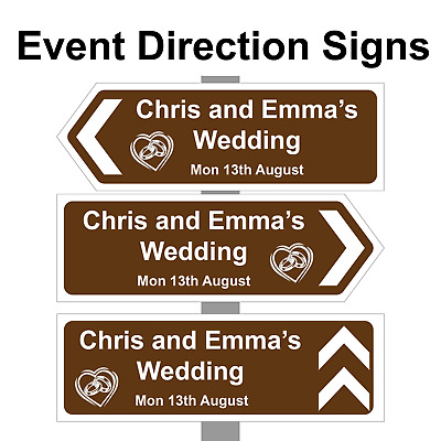 £14.99 • Buy Personalised Wedding Ring Direction Sign, Road Sign Names, Event & Date. Correx