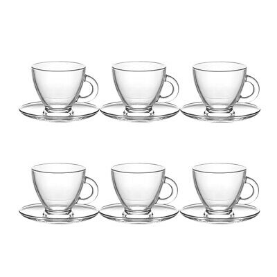 Glass Espresso Cup And Saucer Set Modern 12 Piece Coffee Serving Tableware • 10.90£