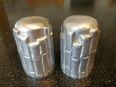 Vintage HEAVY ALUMINUM BAMBOO SALT And PEPPER SHAKERS LUAU TIKI BAR ART DECO & • 29.95$