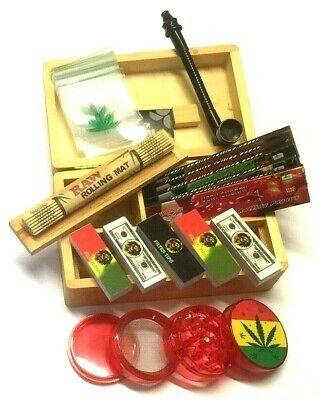 Wooden Stash Rolling Box RAW King Size Papers Leaf Crusher Shredder Rolling Mat • 12.90£