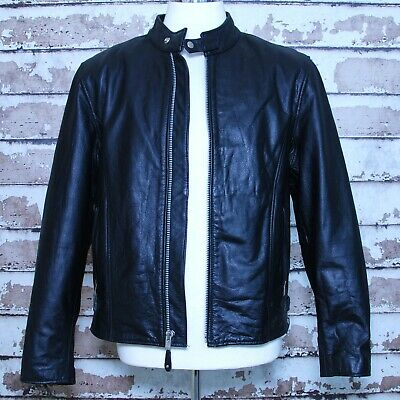 Street & Steel Scooter Cafe Racer Black Leather Jacket Sz Large L Thinsulate • 129.95$
