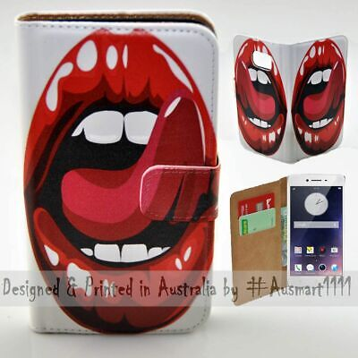 AU14.98 • Buy For OPPO Series - Lick Tongue Theme Print Wallet Mobile Phone Case Cover