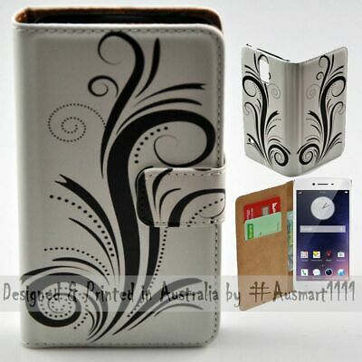 AU14.98 • Buy For OPPO Series - Black Swirl Theme Print Wallet Mobile Phone Case Cover